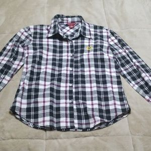 White black and purple flannel